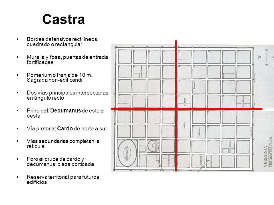 Castra Bordes defensivos rectilíneos, cuadrado o rectangular Muralla y fosa, puertas de entrada fortificadas Pomerium o franja de 10 m. Sagrada non-ed