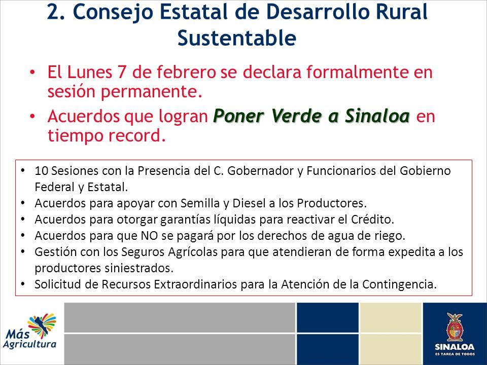 2. Consejo Estatal de Desarrollo Rural Sustentable El Lunes 7 de febrero se declara formalmente en sesión permanente. Poner Verde a Sinaloa Acuerdos q