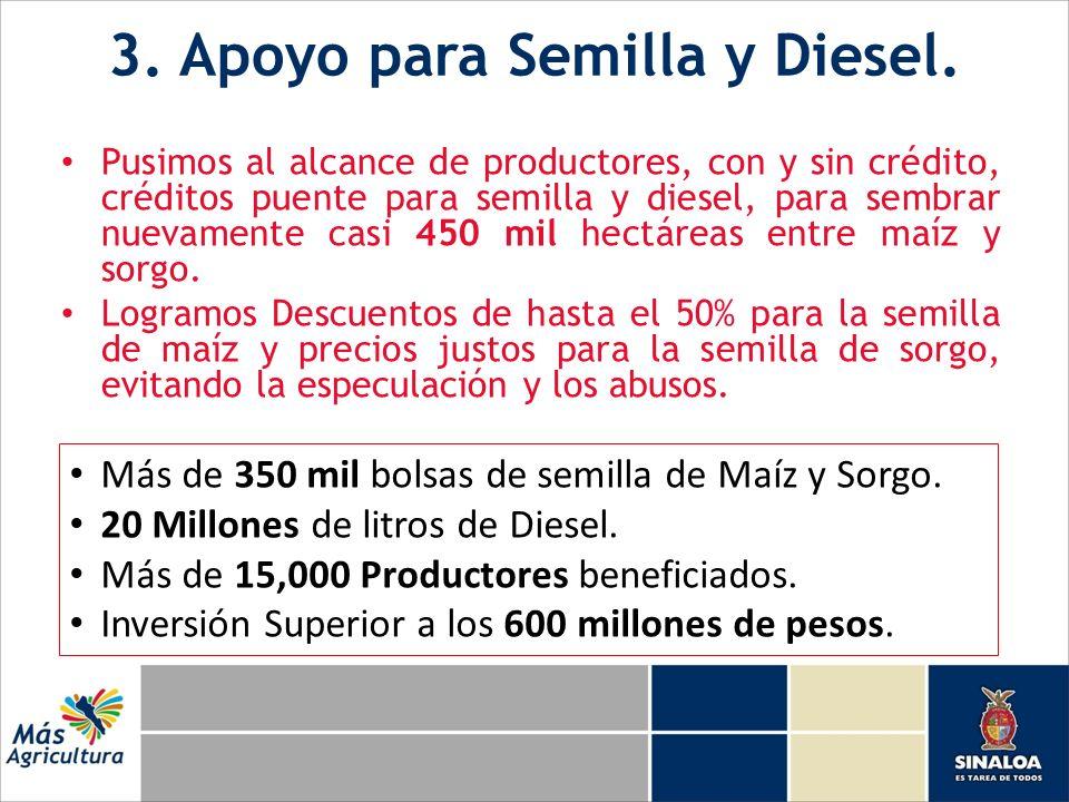 3. Apoyo para Semilla y Diesel. Pusimos al alcance de productores, con y sin crédito, créditos puente para semilla y diesel, para sembrar nuevamente c