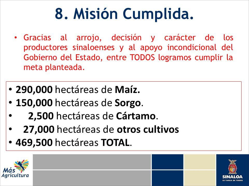 8. Misión Cumplida. Gracias al arrojo, decisión y carácter de los productores sinaloenses y al apoyo incondicional del Gobierno del Estado, entre TODO