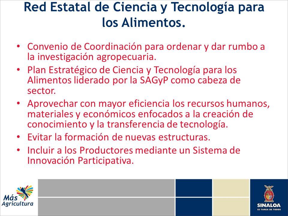 Red Estatal de Ciencia y Tecnología para los Alimentos. Convenio de Coordinación para ordenar y dar rumbo a la investigación agropecuaria. Plan Estrat