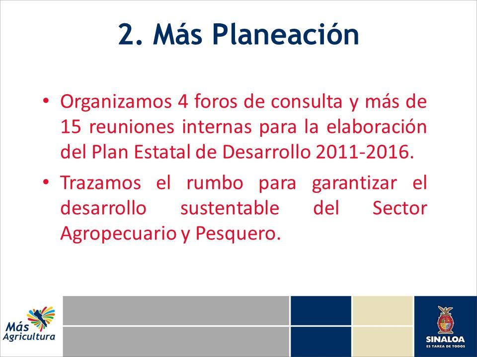 2. Más Planeación Organizamos 4 foros de consulta y más de 15 reuniones internas para la elaboración del Plan Estatal de Desarrollo 2011-2016. Trazamo