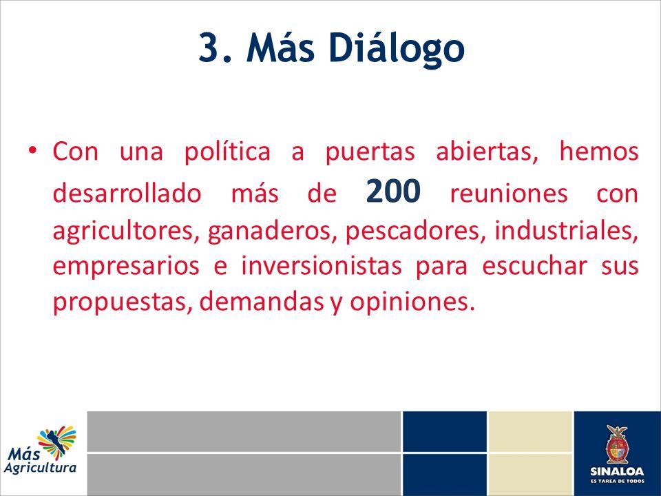 3. Más Diálogo Con una política a puertas abiertas, hemos desarrollado más de 200 reuniones con agricultores, ganaderos, pescadores, industriales, emp