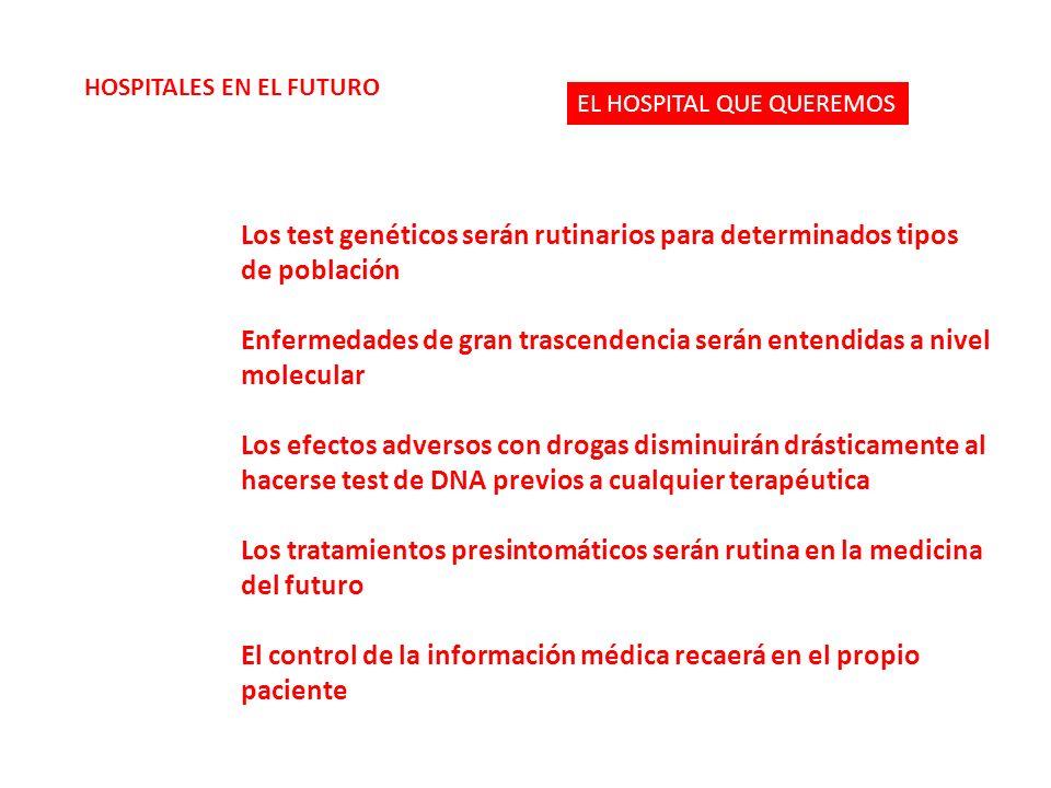 Los test genéticos serán rutinarios para determinados tipos de población Enfermedades de gran trascendencia serán entendidas a nivel molecular Los efe