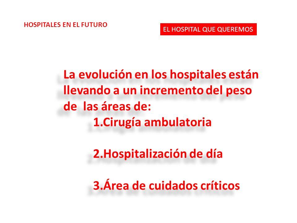 La evolución en los hospitales están llevando a un incremento del peso de las áreas de: 1.Cirugía ambulatoria 2.Hospitalización de día 3.Área de cuidados críticos La evolución en los hospitales están llevando a un incremento del peso de las áreas de: 1.Cirugía ambulatoria 2.Hospitalización de día 3.Área de cuidados críticos EL HOSPITAL QUE QUEREMOS HOSPITALES EN EL FUTURO