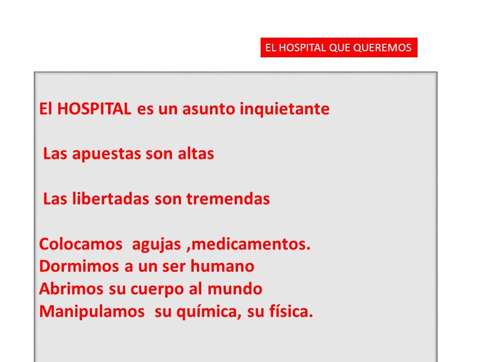 El HOSPITAL es un asunto inquietante Las apuestas son altas Las libertadas son tremendas Colocamos agujas,medicamentos. Dormimos a un ser humano Abrim