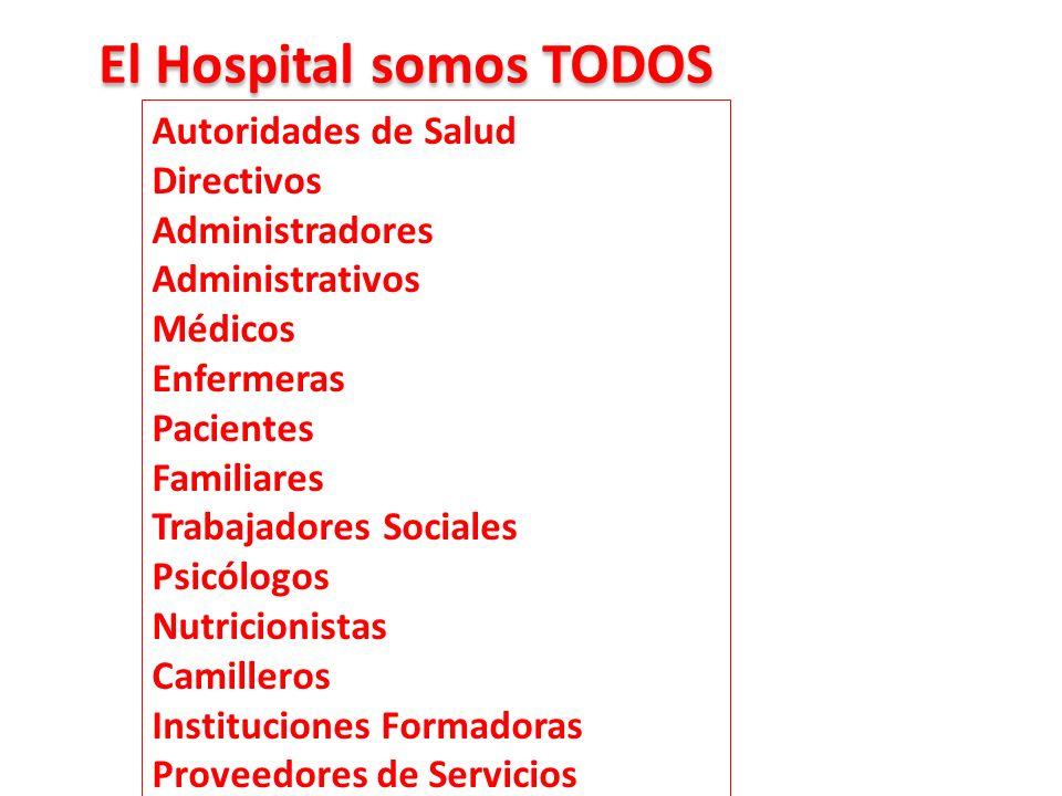 Autoridades de Salud Directivos Administradores Administrativos Médicos Enfermeras Pacientes Familiares Trabajadores Sociales Psicólogos Nutricionista