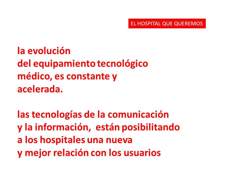 la evolución del equipamiento tecnológico médico, es constante y acelerada. las tecnologías de la comunicación y la información, están posibilitando a