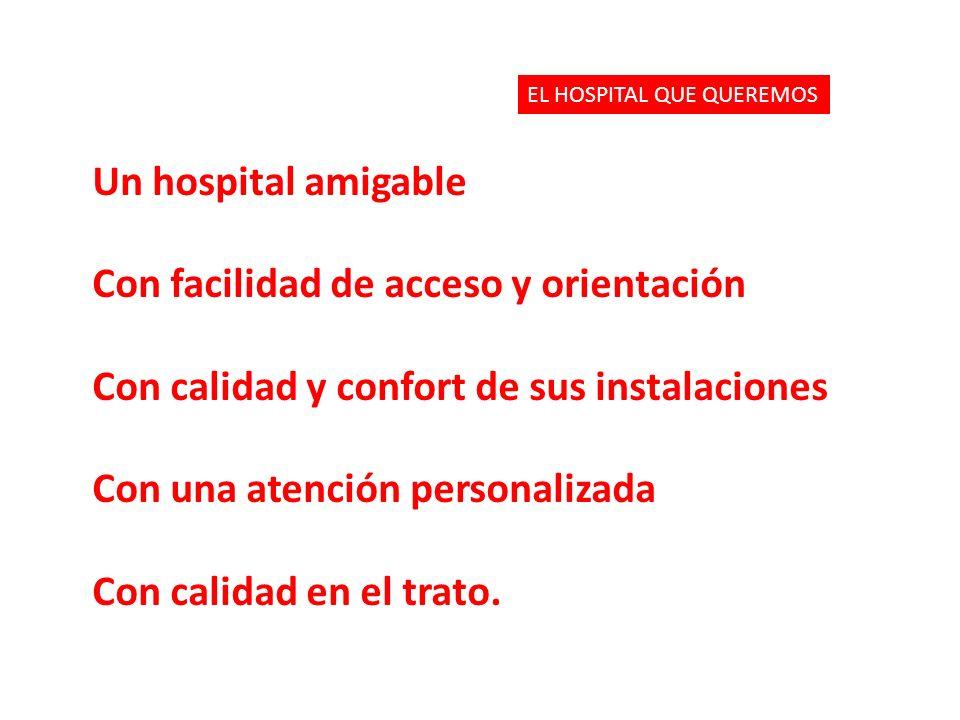 Un hospital amigable Con facilidad de acceso y orientación Con calidad y confort de sus instalaciones Con una atención personalizada Con calidad en el trato.