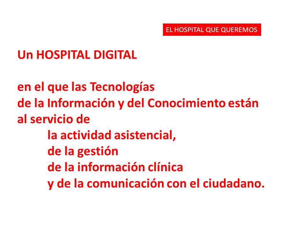 Un HOSPITAL DIGITAL en el que las Tecnologías de la Información y del Conocimiento están al servicio de la actividad asistencial, de la gestión de la información clínica y de la comunicación con el ciudadano.