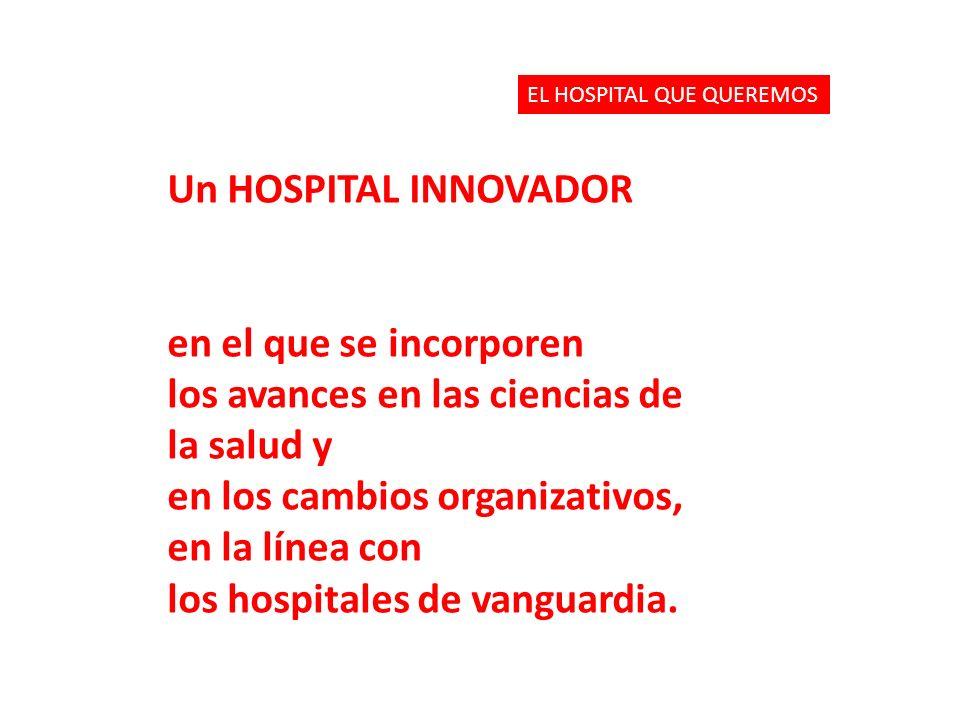 Un HOSPITAL INNOVADOR en el que se incorporen los avances en las ciencias de la salud y en los cambios organizativos, en la línea con los hospitales de vanguardia.