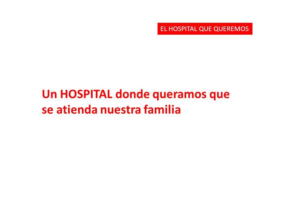 Un HOSPITAL donde queramos que se atienda nuestra familia EL HOSPITAL QUE QUEREMOS