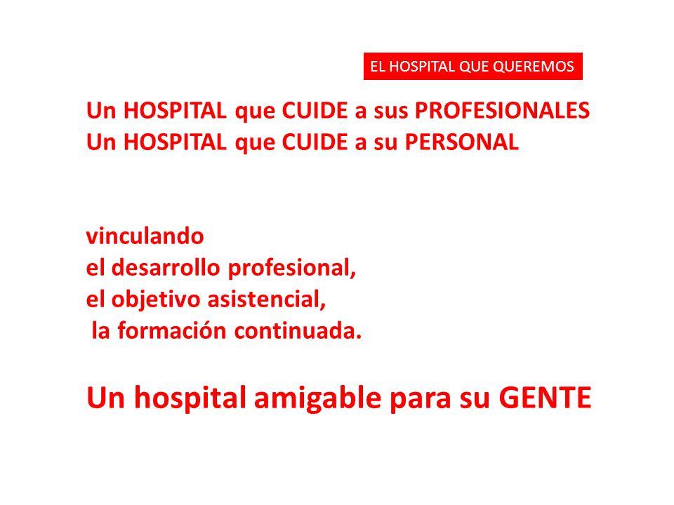 Un HOSPITAL que CUIDE a sus PROFESIONALES Un HOSPITAL que CUIDE a su PERSONAL vinculando el desarrollo profesional, el objetivo asistencial, la formac