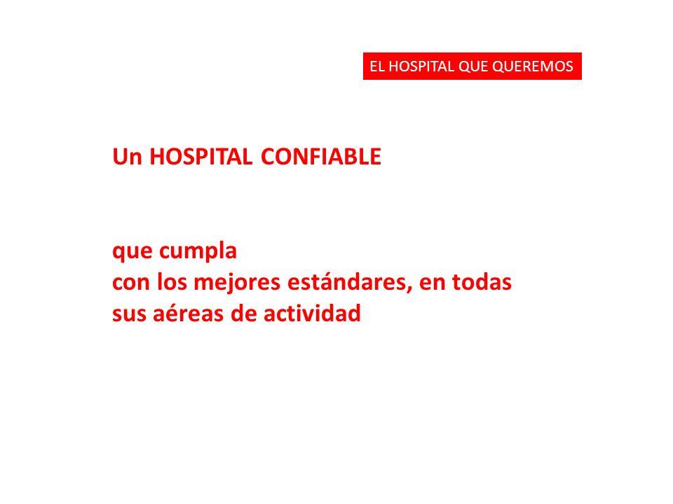 Un HOSPITAL CONFIABLE que cumpla con los mejores estándares, en todas sus aéreas de actividad EL HOSPITAL QUE QUEREMOS