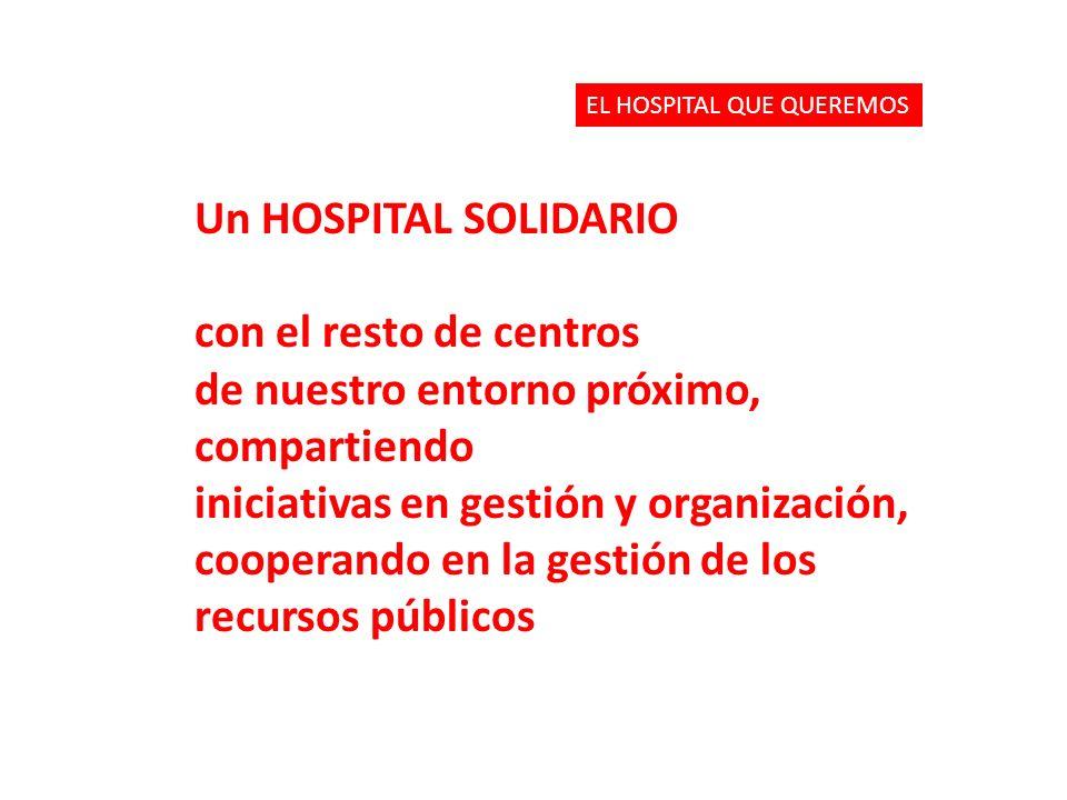 Un HOSPITAL SOLIDARIO con el resto de centros de nuestro entorno próximo, compartiendo iniciativas en gestión y organización, cooperando en la gestión de los recursos públicos EL HOSPITAL QUE QUEREMOS
