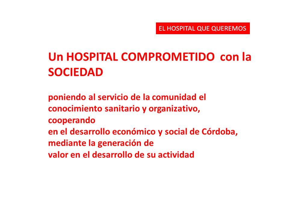 Un HOSPITAL COMPROMETIDO con la SOCIEDAD poniendo al servicio de la comunidad el conocimiento sanitario y organizativo, cooperando en el desarrollo ec