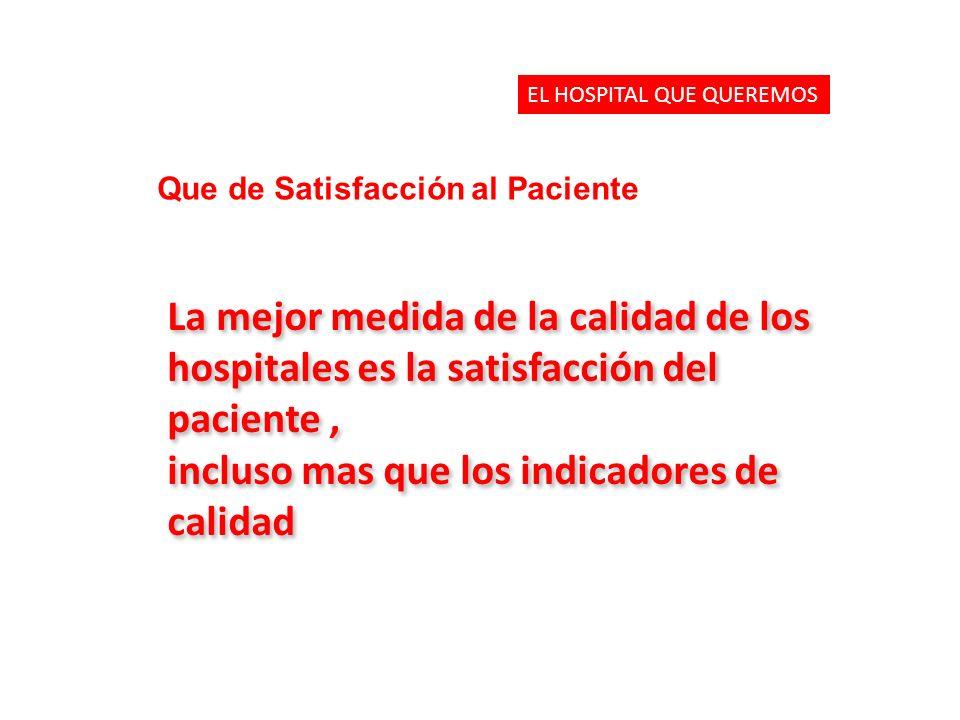 La mejor medida de la calidad de los hospitales es la satisfacción del paciente, incluso mas que los indicadores de calidad La mejor medida de la calidad de los hospitales es la satisfacción del paciente, incluso mas que los indicadores de calidad EL HOSPITAL QUE QUEREMOS Que de Satisfacción al Paciente