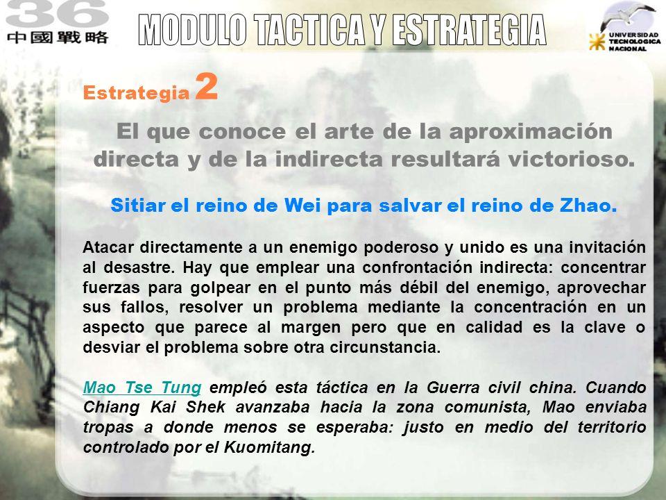 Estrategia 2 El que conoce el arte de la aproximación directa y de la indirecta resultará victorioso. Sitiar el reino de Wei para salvar el reino de Z