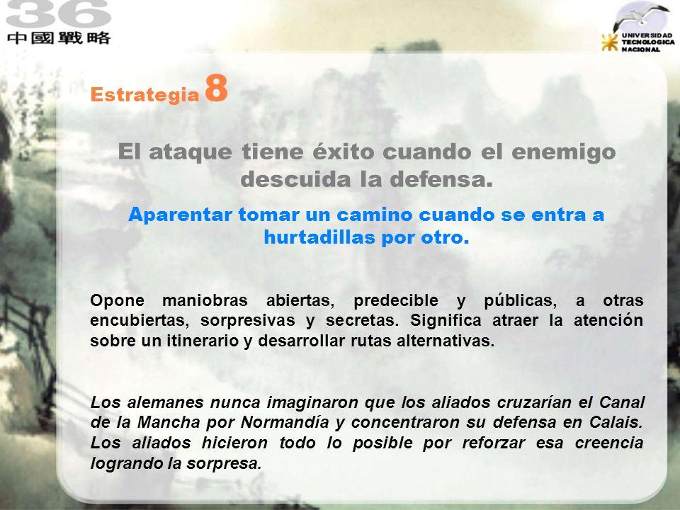 Estrategia 8 El ataque tiene éxito cuando el enemigo descuida la defensa. Aparentar tomar un camino cuando se entra a hurtadillas por otro. Opone mani