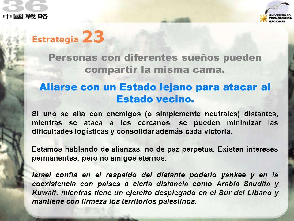Estrategia 23 Personas con diferentes sueños pueden compartir la misma cama. Aliarse con un Estado lejano para atacar al Estado vecino. Si uno se alía