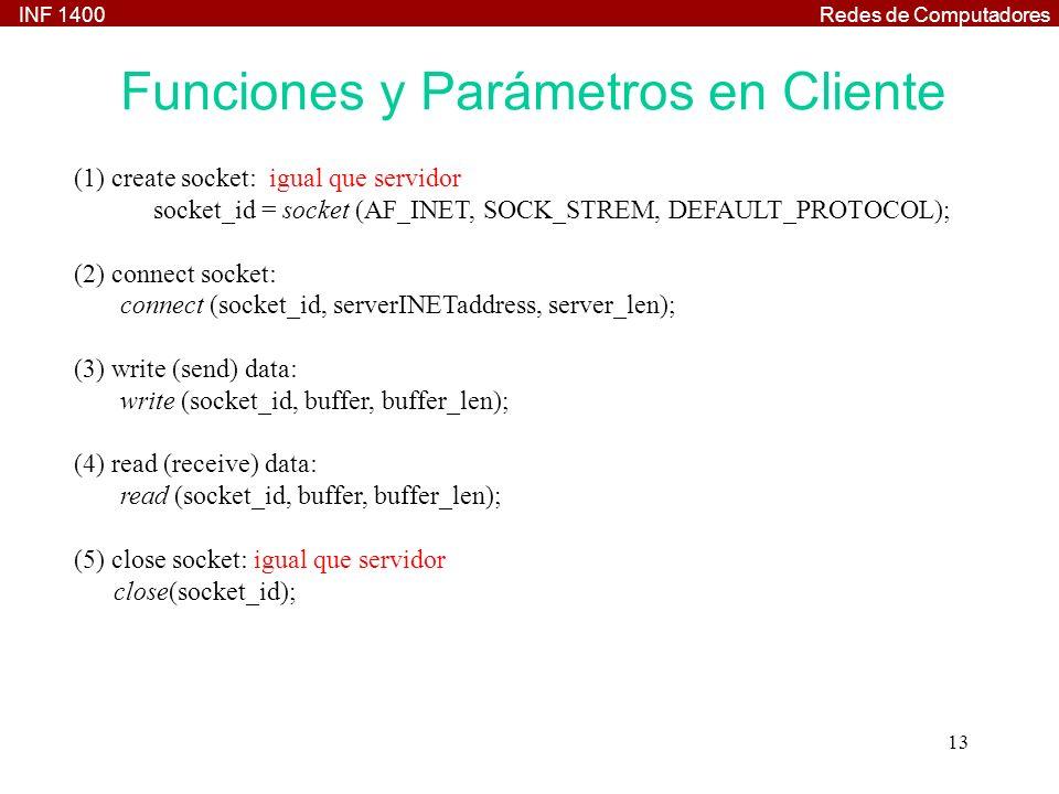 INF 1400Redes de Computadores 13 (1) create socket: igual que servidor socket_id = socket (AF_INET, SOCK_STREM, DEFAULT_PROTOCOL); (2) connect socket: connect (socket_id, serverINETaddress, server_len); (3) write (send) data: write (socket_id, buffer, buffer_len); (4) read (receive) data: read (socket_id, buffer, buffer_len); (5) close socket: igual que servidor close(socket_id); Funciones y Parámetros en Cliente