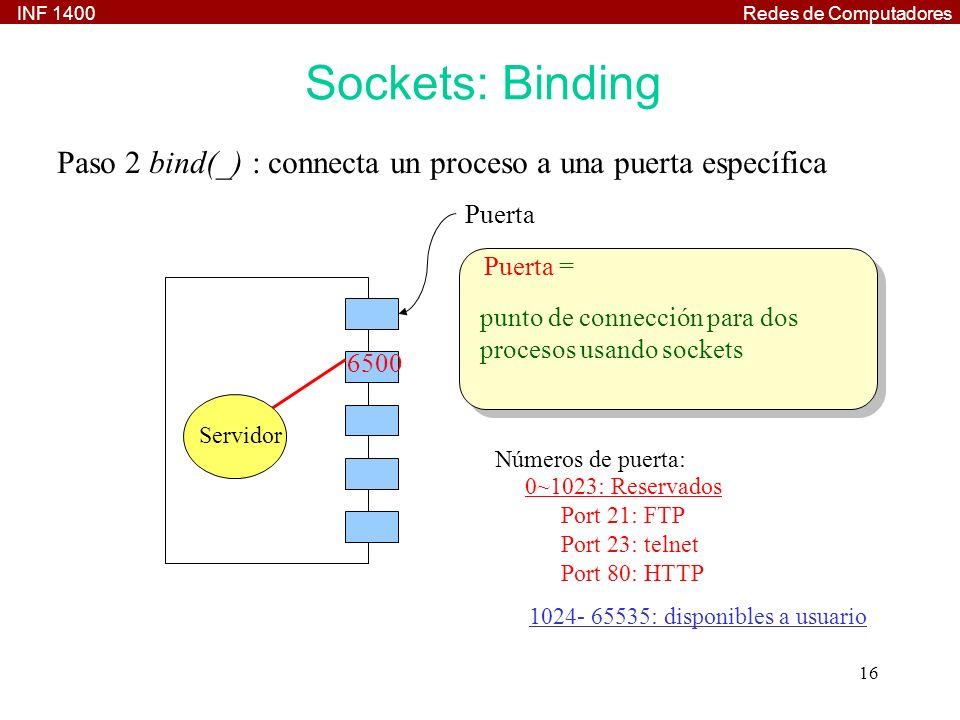 INF 1400Redes de Computadores 16 Paso 2 bind(_) : connecta un proceso a una puerta específica 6500 Servidor Números de puerta: 0~1023: Reservados Port 21: FTP Port 23: telnet Port 80: HTTP 1024- 65535: disponibles a usuario Puerta Puerta = punto de connección para dos procesos usando sockets Sockets: Binding