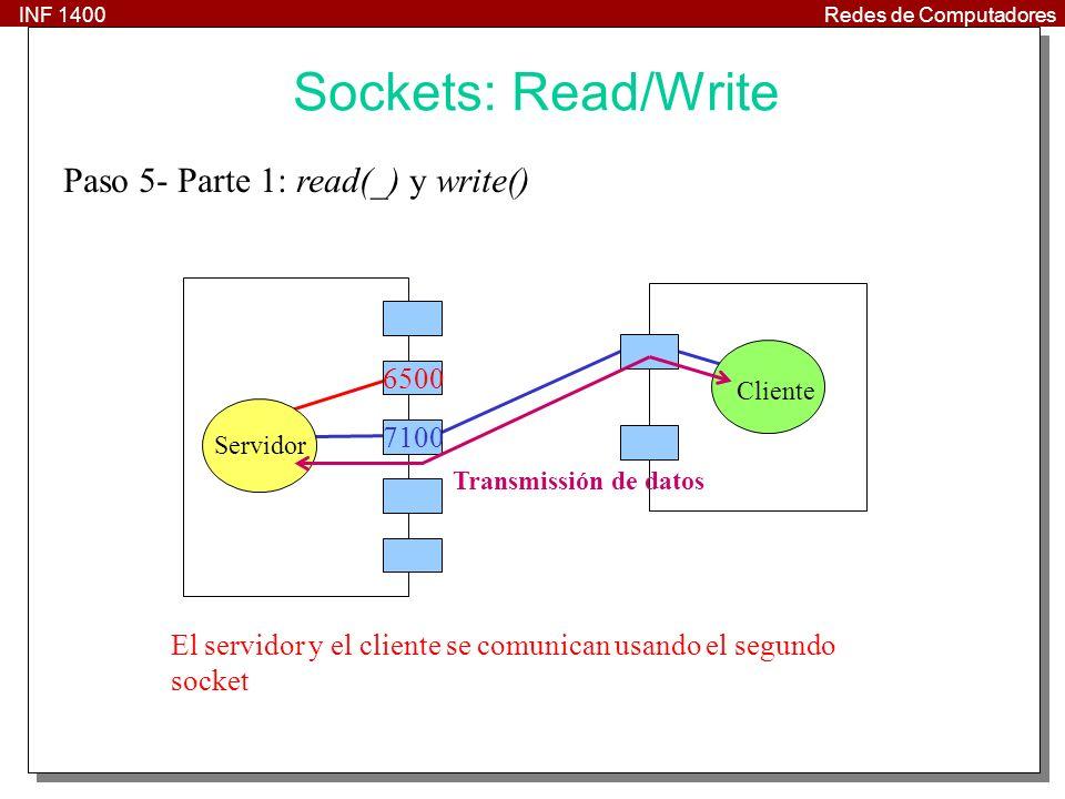 INF 1400Redes de Computadores 20 Paso 5- Parte 1: read(_) y write() Cliente Servidor 7100 El servidor y el cliente se comunican usando el segundo socket 6500 Transmissión de datos Sockets: Read/Write
