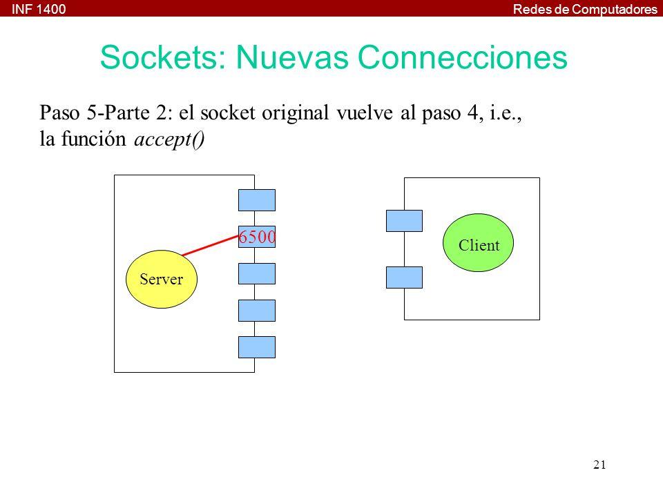 INF 1400Redes de Computadores 21 Paso 5-Parte 2: el socket original vuelve al paso 4, i.e., la función accept() Client Server 6500 Sockets: Nuevas Con