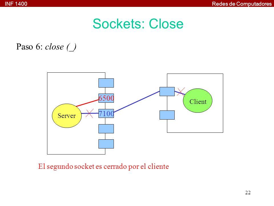 INF 1400Redes de Computadores 22 Paso 6: close (_) Client Server 7100 El segundo socket es cerrado por el cliente 6500 Sockets: Close