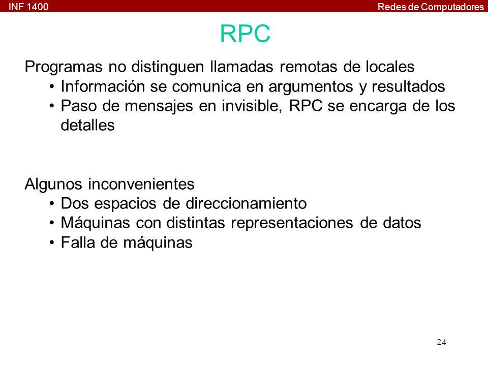 INF 1400Redes de Computadores 24 RPC Programas no distinguen llamadas remotas de locales Información se comunica en argumentos y resultados Paso de mensajes en invisible, RPC se encarga de los detalles Algunos inconvenientes Dos espacios de direccionamiento Máquinas con distintas representaciones de datos Falla de máquinas
