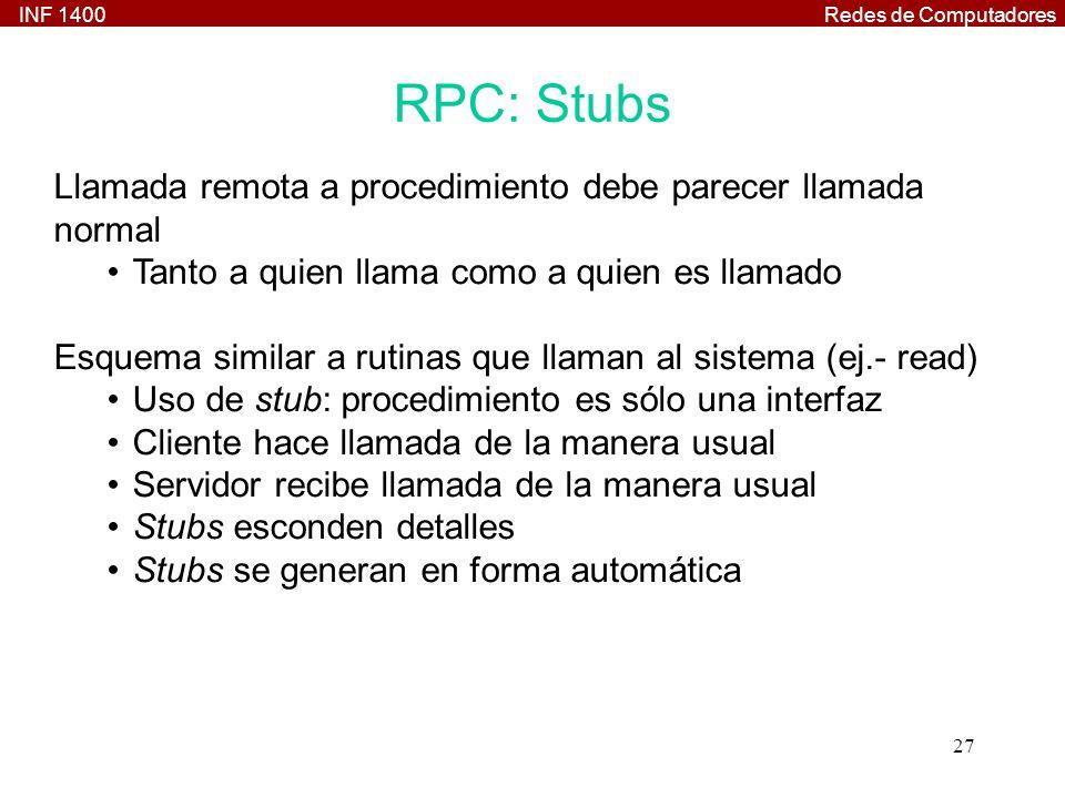 INF 1400Redes de Computadores 27 RPC: Stubs Llamada remota a procedimiento debe parecer llamada normal Tanto a quien llama como a quien es llamado Esquema similar a rutinas que llaman al sistema (ej.- read) Uso de stub: procedimiento es sólo una interfaz Cliente hace llamada de la manera usual Servidor recibe llamada de la manera usual Stubs esconden detalles Stubs se generan en forma automática