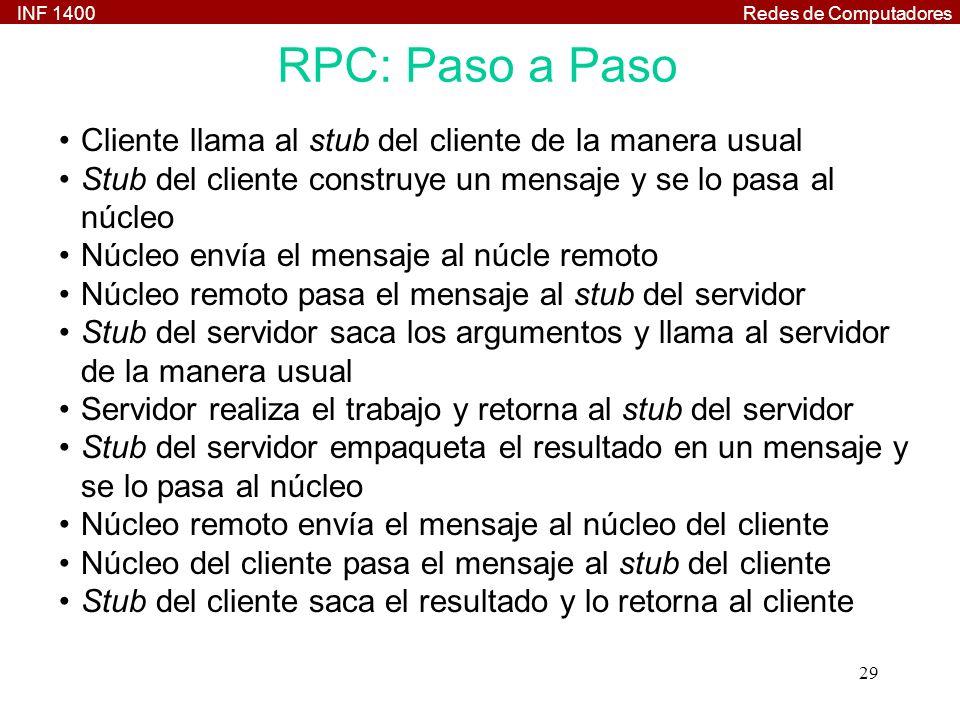 INF 1400Redes de Computadores 29 RPC: Paso a Paso Cliente llama al stub del cliente de la manera usual Stub del cliente construye un mensaje y se lo p