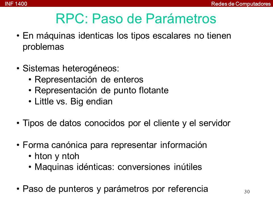 INF 1400Redes de Computadores 30 RPC: Paso de Parámetros En máquinas identicas los tipos escalares no tienen problemas Sistemas heterogéneos: Representación de enteros Representación de punto flotante Little vs.