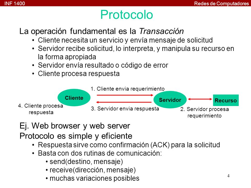 INF 1400Redes de Computadores 35 RPC: Ejemplo Programa Servidor /* rational_server.c */ #include rational.h st_rational *suma_1_svc(st_pair *argp, struct svc_req *rqstp) { static st_rational result; result.num = argp->A.num*argp->B.den + argp->A.den*argp- >B.num; result.den = argp->A.den * argp->B.den; return &result; } float * rational2float_1_svc(st_rational *argp, struct svc_req *rqstp) { static float result; result = (float)argp->num / (float)argp->den; return &result; }