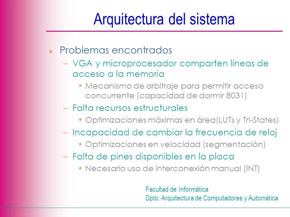 Facultad de Informática Dpto. Arquitectura de Computadores y Automática Arquitectura del sistema n Problemas encontrados –VGA y microprocesador compar