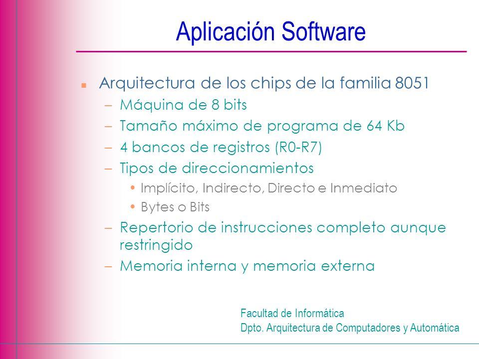 Facultad de Informática Dpto. Arquitectura de Computadores y Automática Aplicación Software n Arquitectura de los chips de la familia 8051 –Máquina de