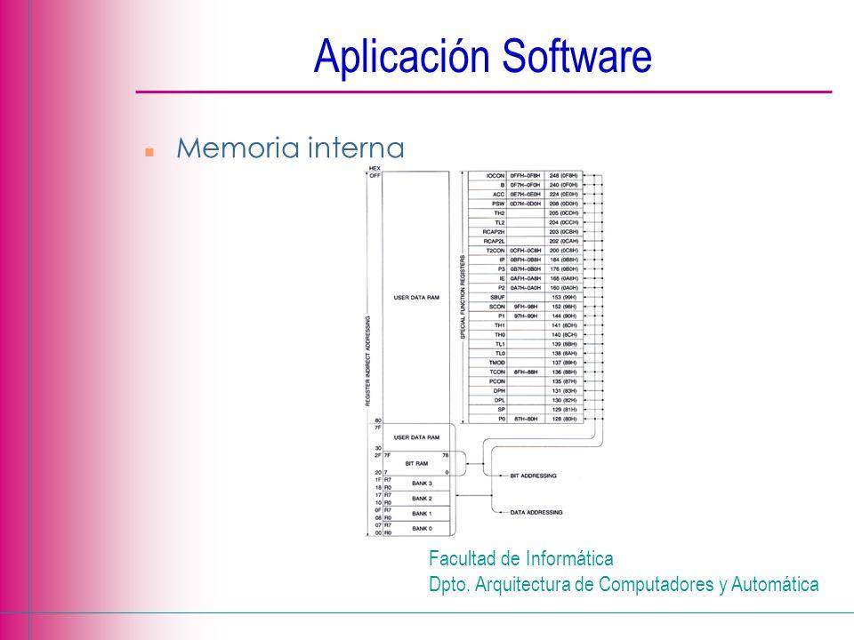 Facultad de Informática Dpto. Arquitectura de Computadores y Automática Aplicación Software n Memoria interna