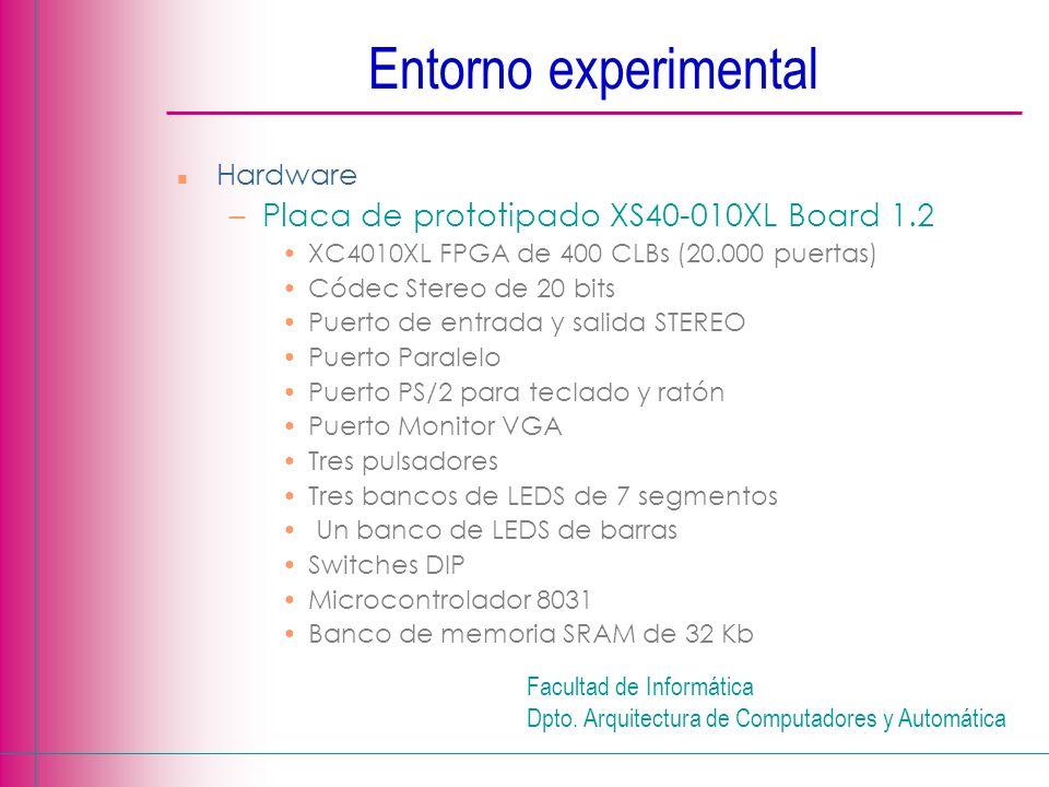 Facultad de Informática Dpto. Arquitectura de Computadores y Automática n Hardware –Placa de prototipado XS40-010XL Board 1.2 XC4010XL FPGA de 400 CLB