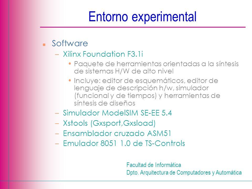 Facultad de Informática Dpto. Arquitectura de Computadores y Automática n Software –Xilinx Foundation F3.1i Paquete de herramientas orientadas a la sí