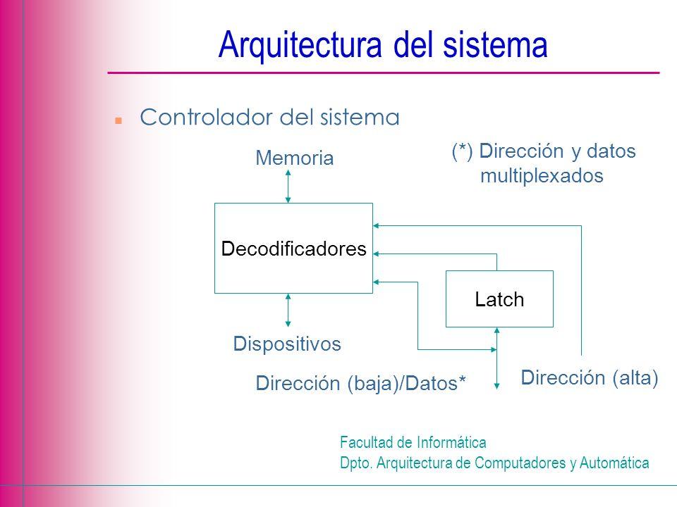 Facultad de Informática Dpto. Arquitectura de Computadores y Automática n Controlador del sistema Latch Decodificadores Memoria Dispositivos Dirección
