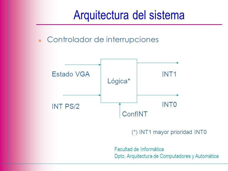 Facultad de Informática Dpto. Arquitectura de Computadores y Automática Arquitectura del sistema n Controlador de interrupciones Lógica* (*) INT1 mayo