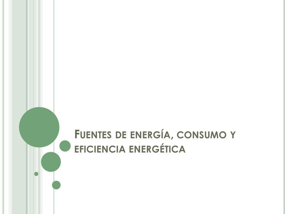 F UENTES DE ENERGÍA, CONSUMO Y EFICIENCIA ENERGÉTICA