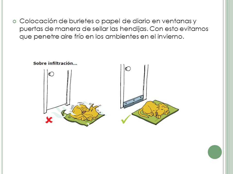 Colocación de burletes o papel de diario en ventanas y puertas de manera de sellar las hendijas.