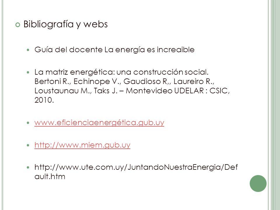 Bibliografía y webs Guía del docente La energía es increaible La matriz energética: una construcción social.