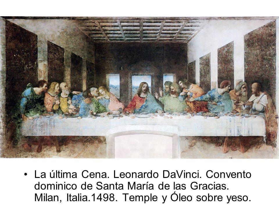 La última Cena. Leonardo DaVinci. Convento dominico de Santa María de las Gracias. Milan, Italia.1498. Temple y Óleo sobre yeso.