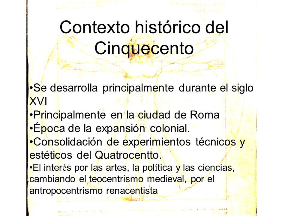 Contexto histórico del Cinquecento Se desarrolla principalmente durante el siglo XVI Principalmente en la ciudad de Roma Época de la expansión colonia