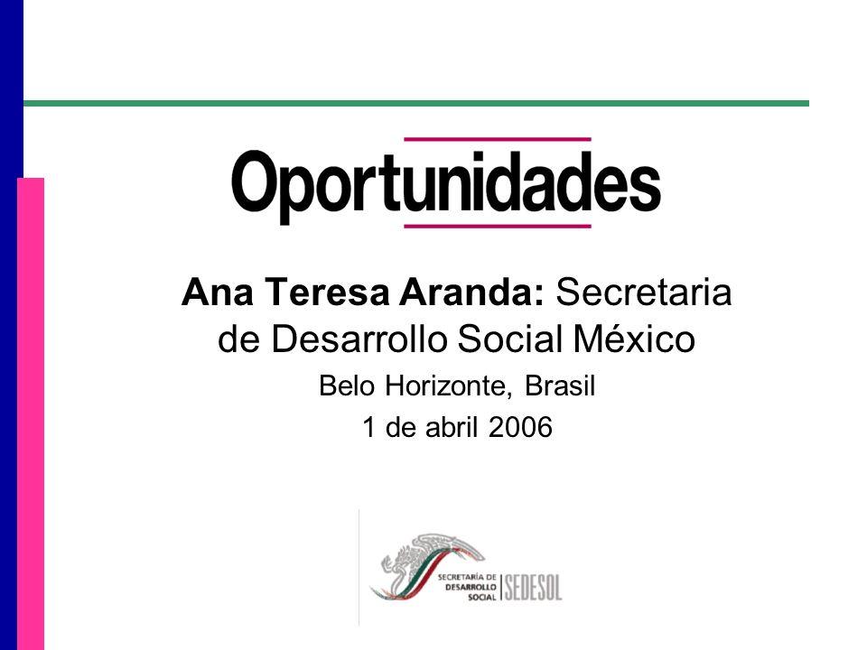 Ana Teresa Aranda: Secretaria de Desarrollo Social México Belo Horizonte, Brasil 1 de abril 2006