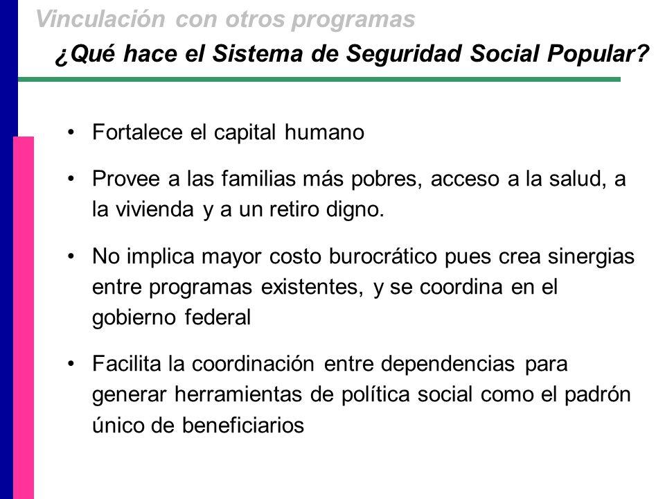 Fortalece el capital humano Provee a las familias más pobres, acceso a la salud, a la vivienda y a un retiro digno.