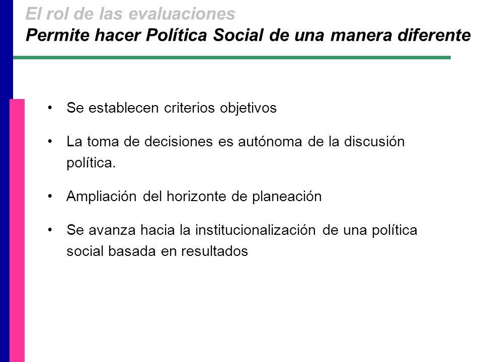 Se establecen criterios objetivos La toma de decisiones es autónoma de la discusión política.