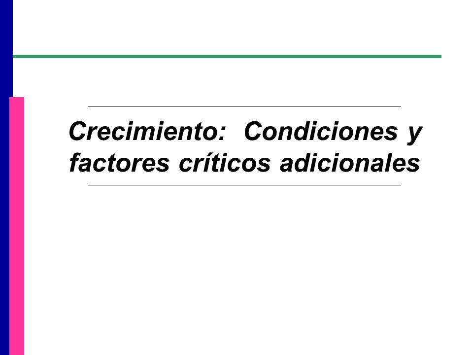 Crecimiento: Condiciones y factores críticos adicionales